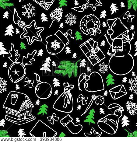 Christmas Doodle Background, Seamless Pattern With Hand Drawn New Year Elements On Black Background.