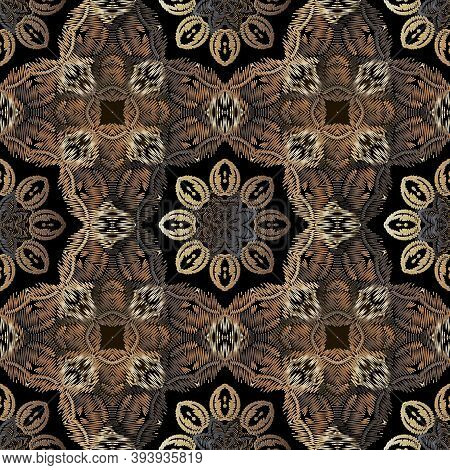 Embroidery Floral Vector Seamless Pattern. Baroque Ornaments. Colorful Grunge Background. Tapestry W