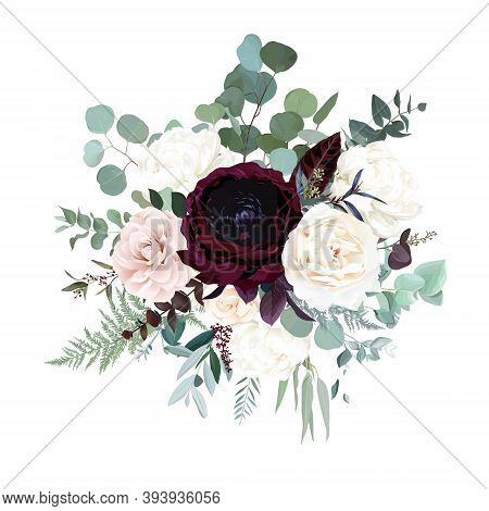 Silver Sage Green, Pink Blush, Burgundy Red And White Flowers Vector Design Bouquet. Peony, Rose, Ca