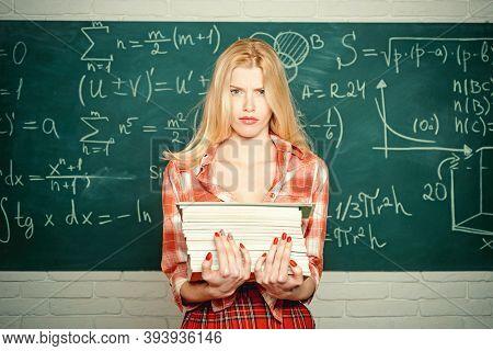 Sensual Student. Teacher. Emotional Sensual Woman Student Screaming On Classroom Chalkboard Backgrou