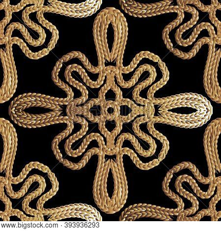 Textured Braided 3d Vector Seamless Pattern. Ornamental Vintage Embroidery Background. Stitching Gru