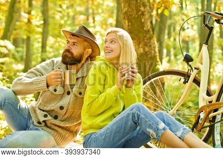 Romantic Couple On Date. Date And Love. Autumn Date Hike In Forest. Romantic Date With Bicycle. Coup