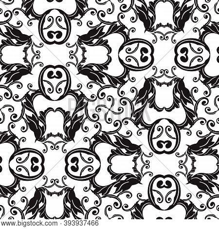 Baroque Black And White Vector Seamless Pattern. Ornamental Monochrome Background. Antique Baroque V