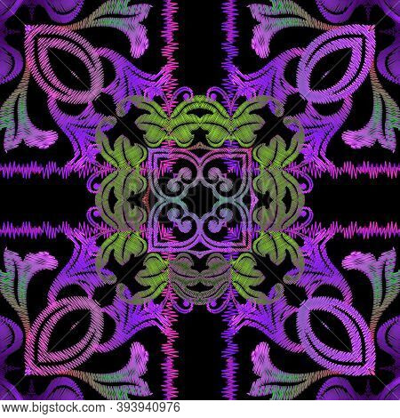 Embroidery Baroque Vector Seamless Pattern. Colorful Floral Striped Background. Tapestry Wallpaper.