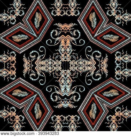 Baroque Floral Embroidery Seamless Pattern. Vector Grunge Background. Vintage Embroidered Wallpaper.
