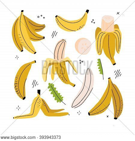 Banana, Banana Slice, Peeled Banana, Banana Peel - Clipart Set Of Hand Drawn Childish Flat And Linew