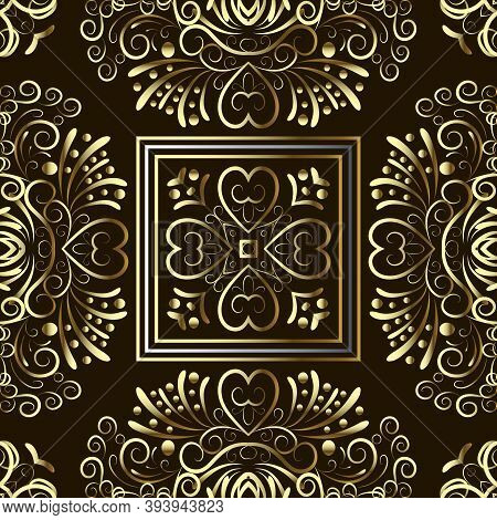 Gold Floral Paisley Vector Seamless Pattern. Ornamental Ethnic Style Background With Square Frames,