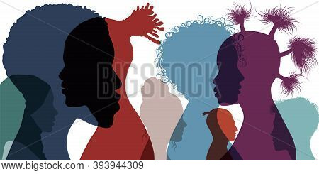 Silhouette Profile Group Of Men And Women Of Diverse Culture. Cultural Diversity. Multi-ethnic And M
