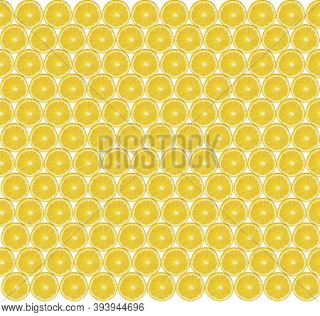 Texture Of Lemon Slices. Yellow Texture Of Sliced Lemon Slices. Slices Of Fresh Juicy Yellow Lemons.