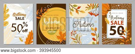 Autumn Sale Poster Set Background. Autumn-time Gift Discount Offer Banners In Whimsical Memphis Mode