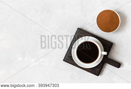 Coffee Cup On A White Background. Chicory Drink And Chicory Powder. Natural Coffee Substitute. Copy