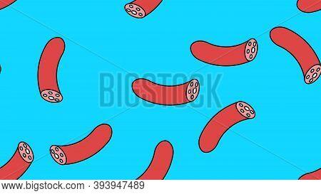 Sausage Pattern Seamless. Wurst. Endless Print Texture. Cartoon.