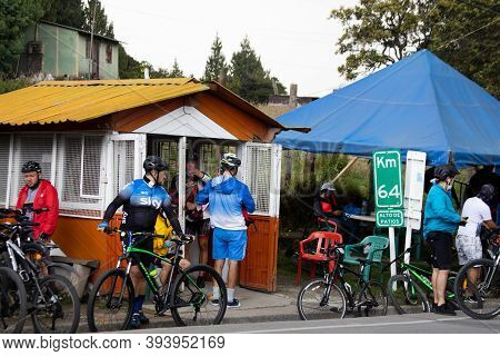 La Calera Colombia - October, 2020: Group Of Amateur Cyclists Resting After Their Arrival To The Wel