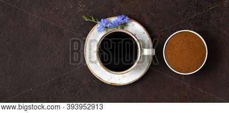 Chicory Coffee Drink And Chicory Powder On Brown Background. Coffee Substitute. Healthy Beverage. Co