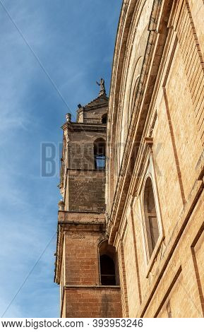 Campos, Balearic Islands/spain; November 2020: Detail Of The Main Facade Of The Church In The Town O