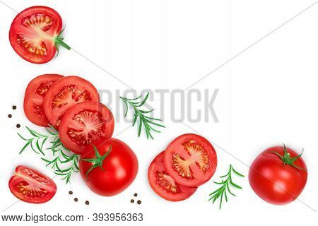 Tomato Slices With Basil And Peppercorns Isolated On White Background. Top View. Flat Lay