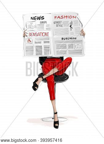 Woman Sitting On Chair And Reading Newspaper. Woman Wearing Red Trousers. Female Legs In Shoes.