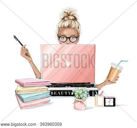Beautiful Blonde Hair Woman Working On Laptop Computer. Pretty Girl Sitting At Table, Holding Plasti
