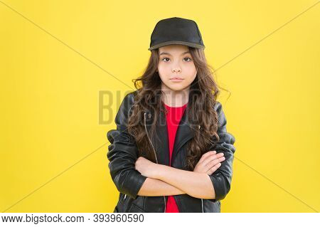 Be Confident Be Yourself. Confident Child Keep Arms Crossed Yellow Background. Cool Look Of Little F