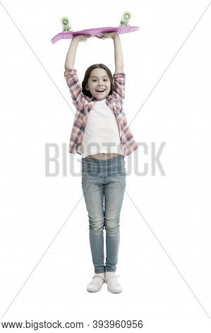 Got Her First Penny Board. Happy Girl Hold Penny Board Isolated On White. Small Skater With Pink Boa