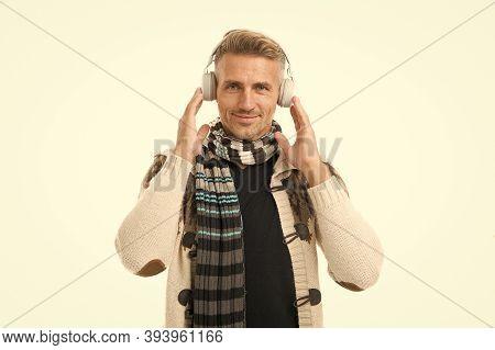 Studying On The Go. Enjoying Audio Book. Modern Earphones Concept. Audio Education. Audio Track. Man