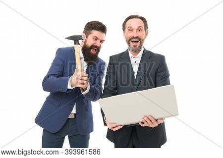 Sometimes You Just Have To Let Off Steam. Crazy Managers Hit Laptop With Hammer. Brutal Businessmen
