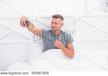 Good Morning. Blog Online Content. Personal Blog Concept. Good Morning. Man Taking Selfie Photo Smar