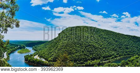 A Mountain And River View From Atop Mount Tammany At The Deleware Water Gap