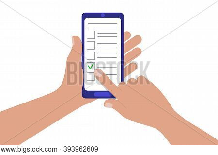 Concept Of Online Questionnaire, Quiz, Survey. Hand Holding Mobile Phone, Forefinger Touching Vertic