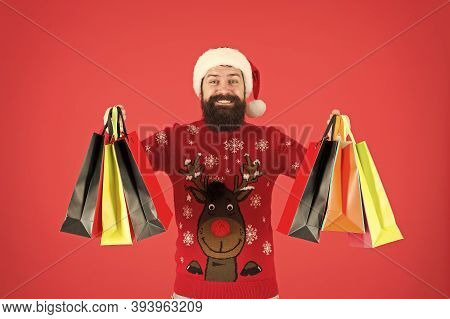 Seasonal Sale. Winter Shopping On Budget. Upgrade Your Wardrobe. Man Bearded Hipster Wear Christmas