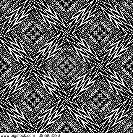 Braided Black And White Vector Seamless Pattern. Geometric Intricate Background. Wicker Stripes, Lin