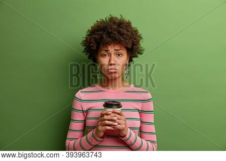 Depressed Dark Skinned Girlfriend Hears Bad News And Looks At Camera With Upset Dejected Expression,