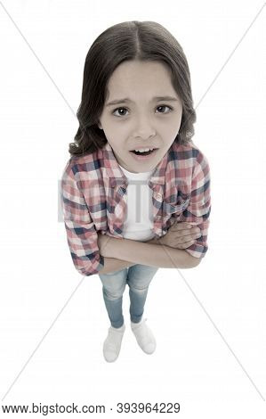 Do You Need Problems. Kid Serious Bully Face White Background. Kid Unhappy Looks Strictly. Girl Fold