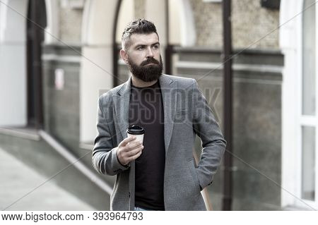 Man Bearded Hipster Drinking Coffee Paper Cup. One More Sip Of Coffee. Drinking Coffee On The Go. Bu