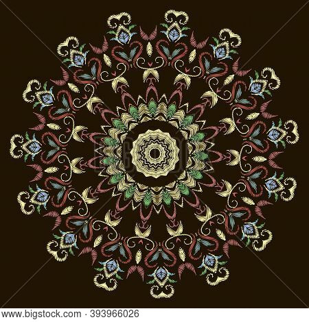 Floral Colorful Embroidery Lace Textured Mandala Pattern. Floral Ornamental Grunge Background. Circl