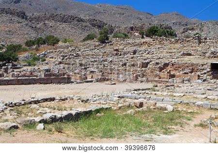 Ancient Minoan palace of Kato Zakros at Crete island in Greece poster