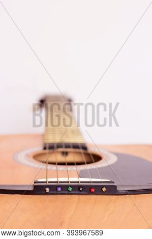 Guitar Strings. Six-string Acoustic Guitar. Close Plan.