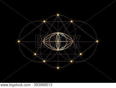 Vesica Piscis Gold Sacred Geometry. All Seeing Eye, The Third Eye Or The Eye Of Providence Inside Tr