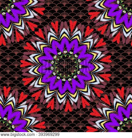 Tapestry Floral Vector Seamless Mandala Pattern. Ornamental Colorful Lace Textured Background. Embro
