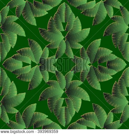 Textured Embroidery Tropical Vector Seamless Pattern. Green Surface Leaves Abstract Background. Tape