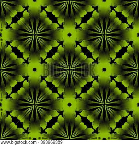 Grunge Ornamental Green 3d Vector Seamless Pattern. Surface Textured Grungy Background. Embroidery S