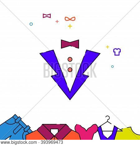 The Tuxedo Filled Line Vector Icon, Simple Illustration, Garments, Dress, Wearing Clothes Related Bo