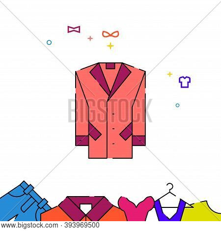 Men Coat Filled Line Vector Icon, Simple Illustration, Garments, Dress, Wearing Clothes Related Bott