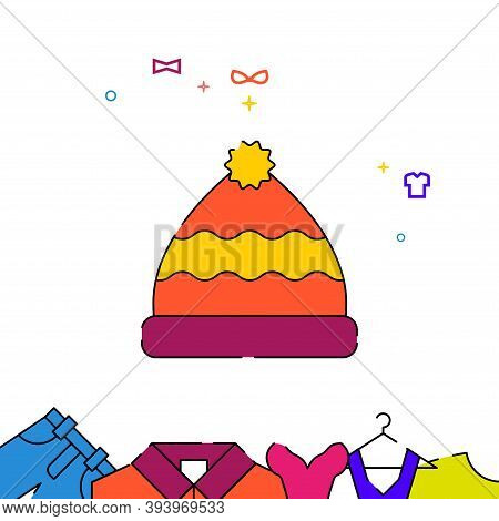 Hat With Pompom Filled Line Vector Icon, Simple Illustration, Garments, Dress, Wearing Clothes Relat