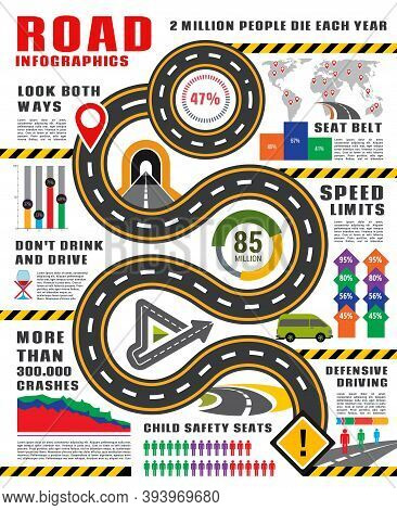 Transport Infographics Vector Template. Road And Traffic Safety Infographic, Highway With Signs And
