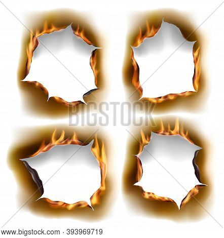 Burning Holes, Vector Burn Paper Fire With Realistic Charred Edges Isolated Objects. 3d Flame On She