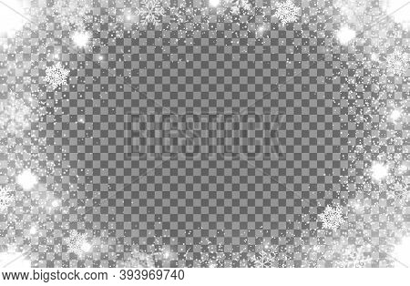 Realistic Snow Flakes Oval Frame On Transparent Background. Isolated Vector Christmas Border With Fa