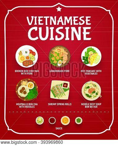 Vietnamese Restaurant Menu Vector Cover. Broken Rice Com Tam With Pork, Lemongrass Pork, Rice Pancak