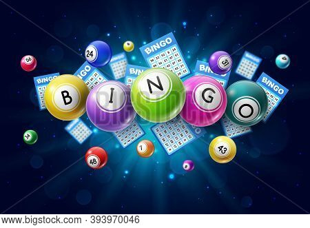 Bingo Lotto Game Balls And Lottery Cards With Lucky Numbers On Glowing Background With Sparkles. Vec