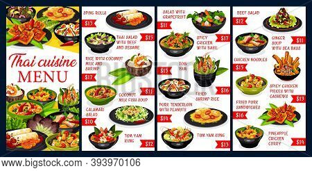Thai Cuisine Vector Menu Meals Template. Spring Rolls, Thai Salad With Beef And Seasame, Rice With C